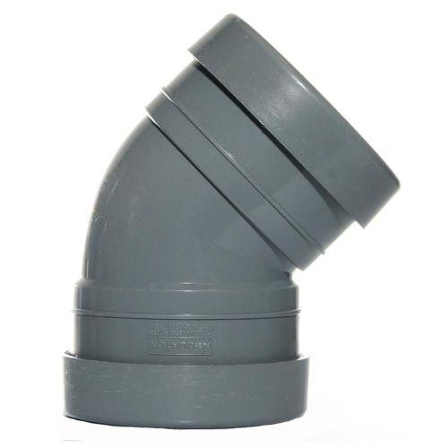 160mm Double Socket Bend 135' Pushfit Grey