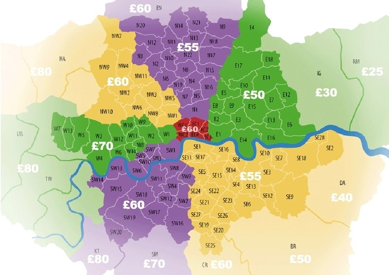 same day delivery postcode price map