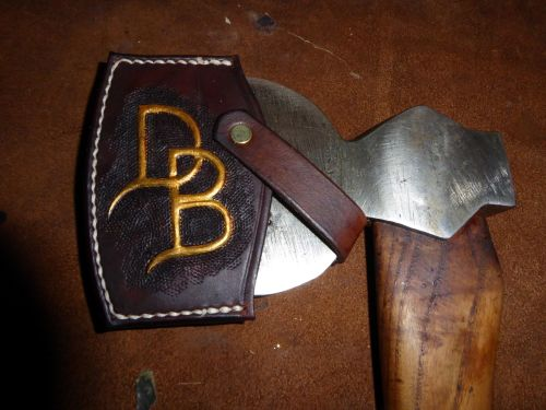 axe head sheath with initials