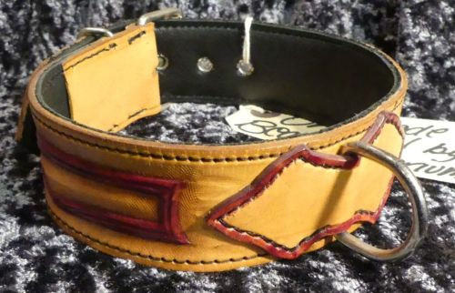 TAN AND RED TOOLED COLLAR