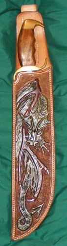LEATHER KNIFE SHEATH / DRAGON