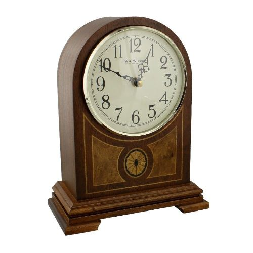 Wm Widdop Wooden Inlay Arch Top Chiming Mantel Clock