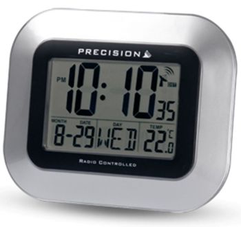 Large Silver Digit Radio Controlled Wall or Desk Clock