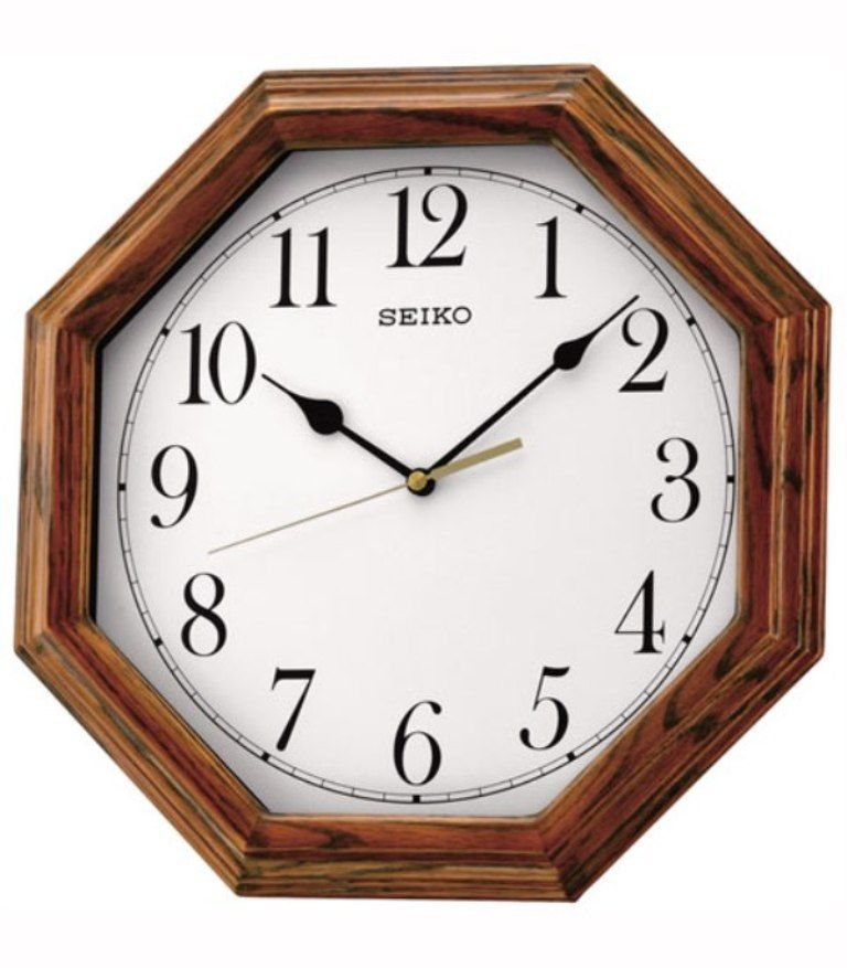 Seiko Wooden Octagonal Oak Finish Wall Clock