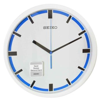Seiko Blue & White Contemporary Wall Clock