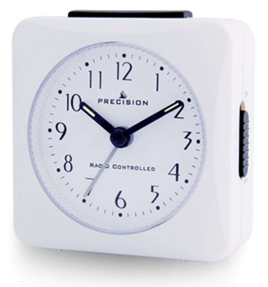 White Analogue Radio Controlled Alarm Clock with Cresendo Alarm