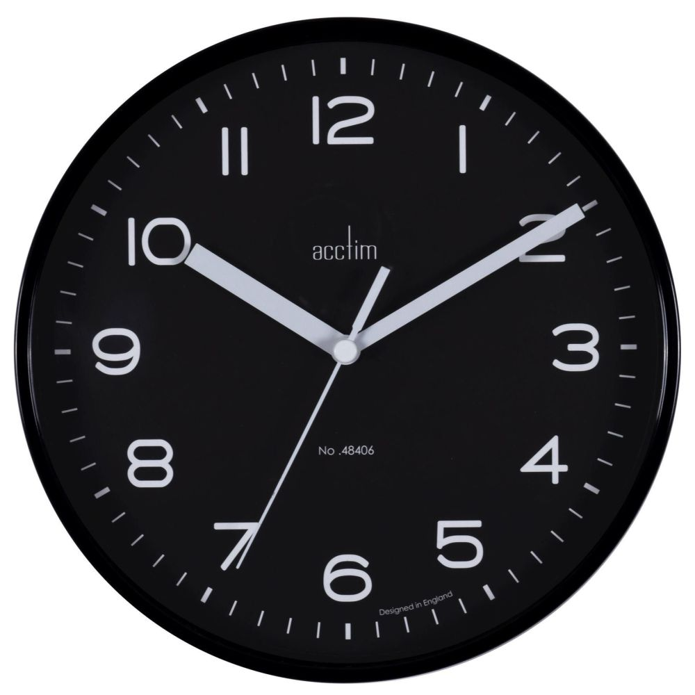 Small Acctim 19.5cm Black Wall Clock