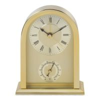 Arch Top Gilt Carriage Clock With Thermometer