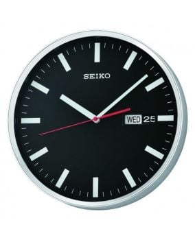 Seiko Black Dial Day Date Wall Clock