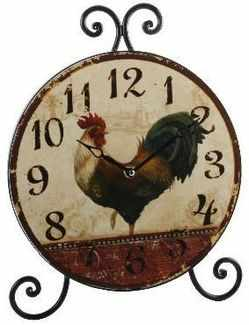 Wrought Iron Aged Shabby Design Cockerel Clock