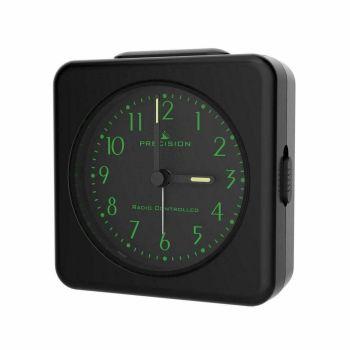Black Analogue Radio Controlled Alarm Clock with Crescendo Alarm