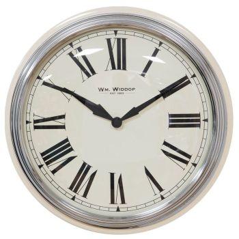 Cream & Chrome Metal Wall Clock