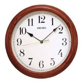 Seiko Wooden Round Solid Oak Wall Clock