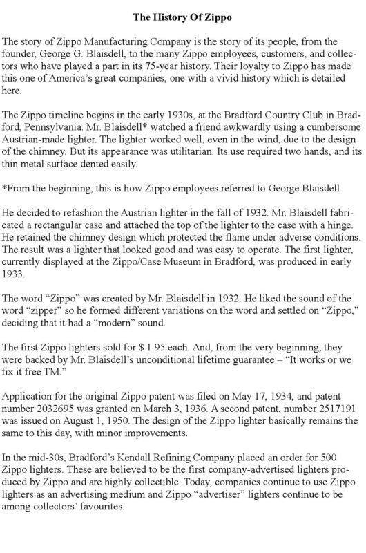 History of Zippo Lighters