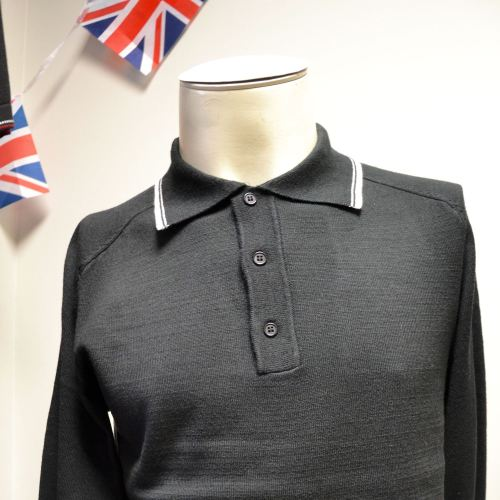 Knitted LS Black Polo