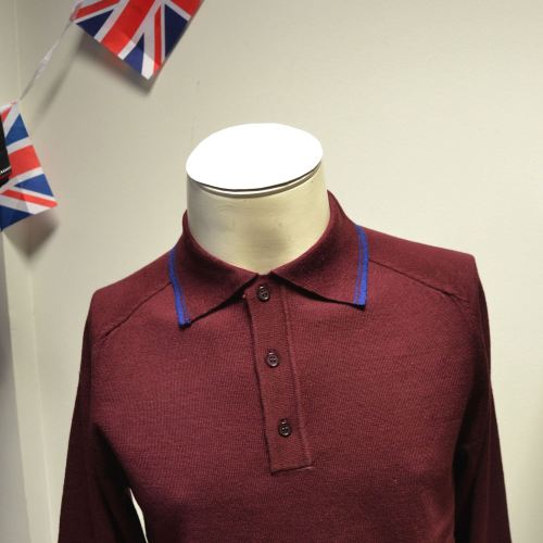Burgundy LS Knit Polo