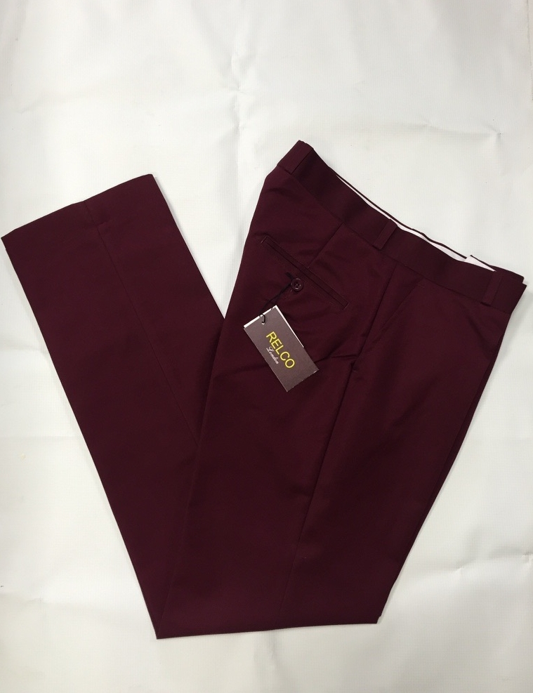 Burgundy Sta Prest Trousers