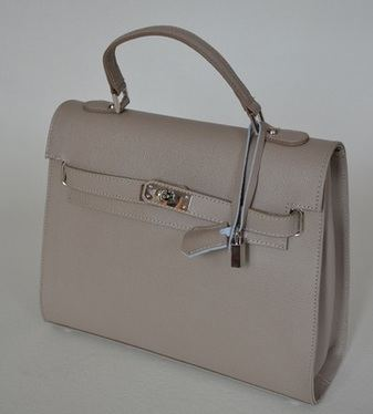 Taupe Leather Bag 'Anna'