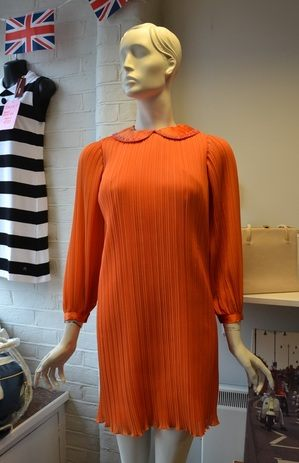 Orange crepe dress front