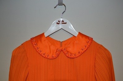 Orange dress collar front