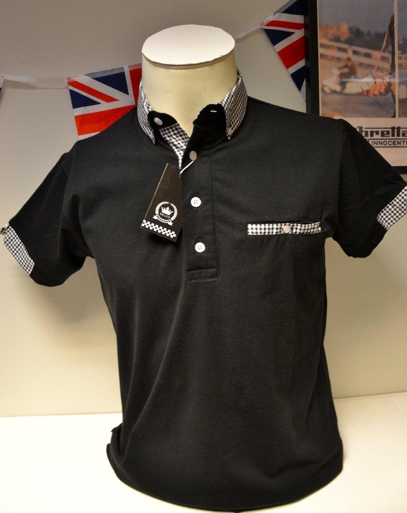 Black Check Collar Polo