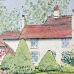 Property with topiary trees - watercolour