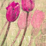 Pink Tulips - mixed media