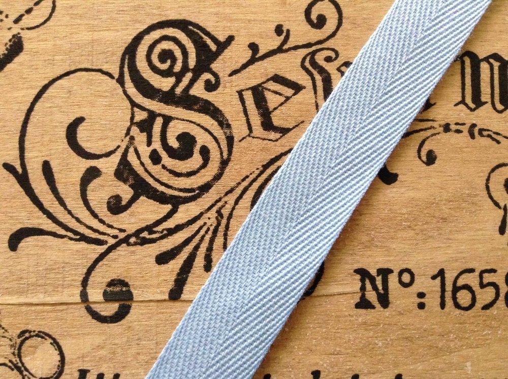 25mm Blue Tape Woven Herringbone Baby Blue Sold Per Half Metre