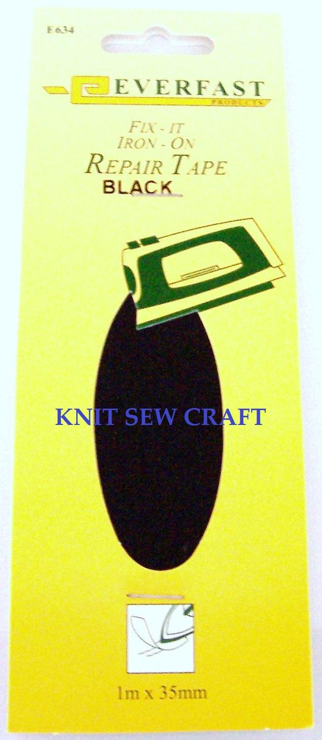 Everfast Fix It Iron On Fabric Repair Tape BLACK