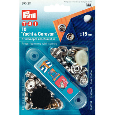 Prym Yacht Caravan Press Fasteners 15mm Silver 390211
