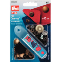 Prym Press Snap Fasteners 15mm Anorak 390299 ANTIQUE BRASS