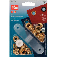 Prym 8mm eyelets washers + fixing tool 541375 GOLD