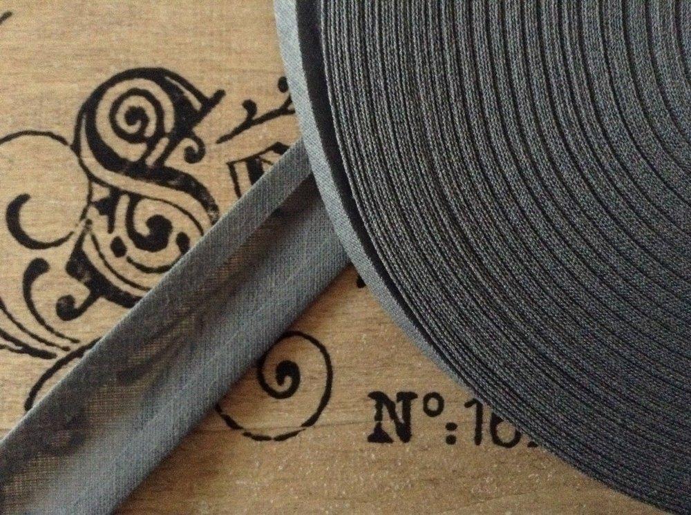 grey bias binding tape 100% cotton 25mm fabric edging 1 metre mid grey