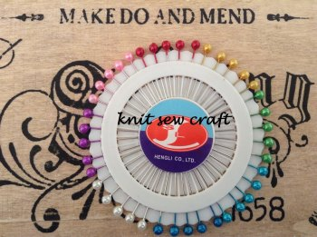 Pin Wheel 40 Coloured Head Dressmakers Pins