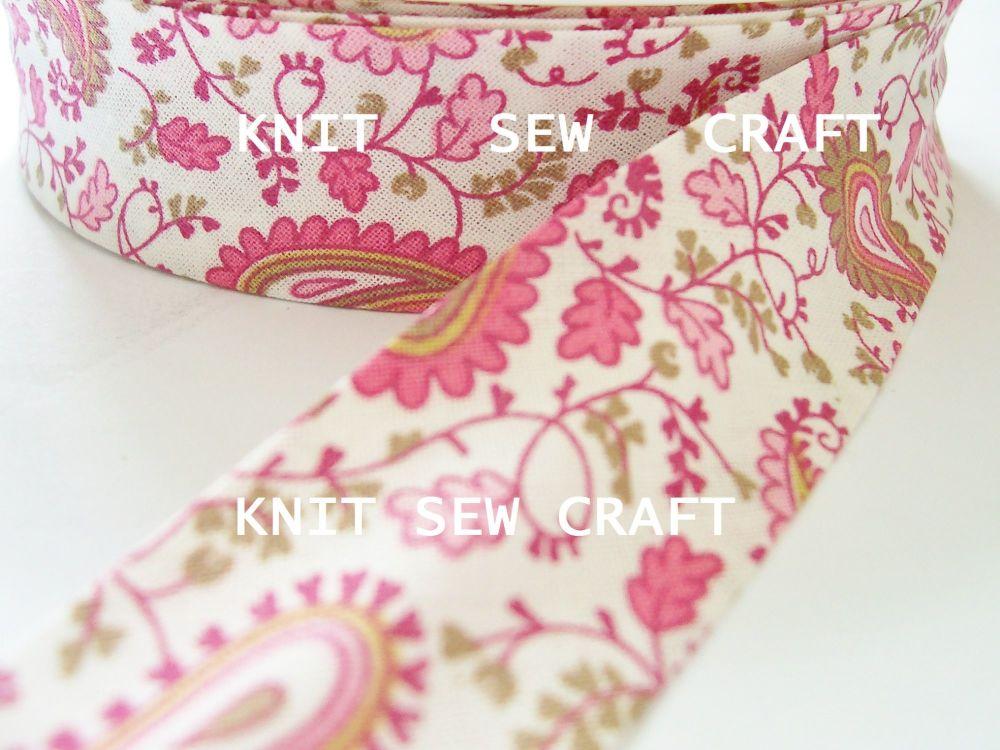 pink paisley printed cotton bias binding tape 25mm x 25 metres