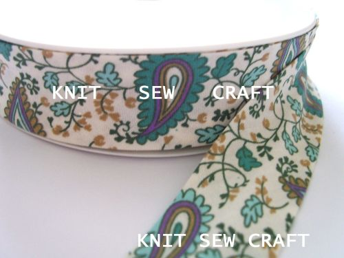 green paisley multi printed cotton bias binding tape 25mm x 25 mtr