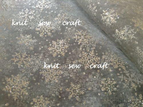 Silver Glitter Organza Snowflake Festive Material
