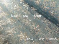 Snowflake Pattern Organza Sheer Blue Fabric Silver Snowflakes
