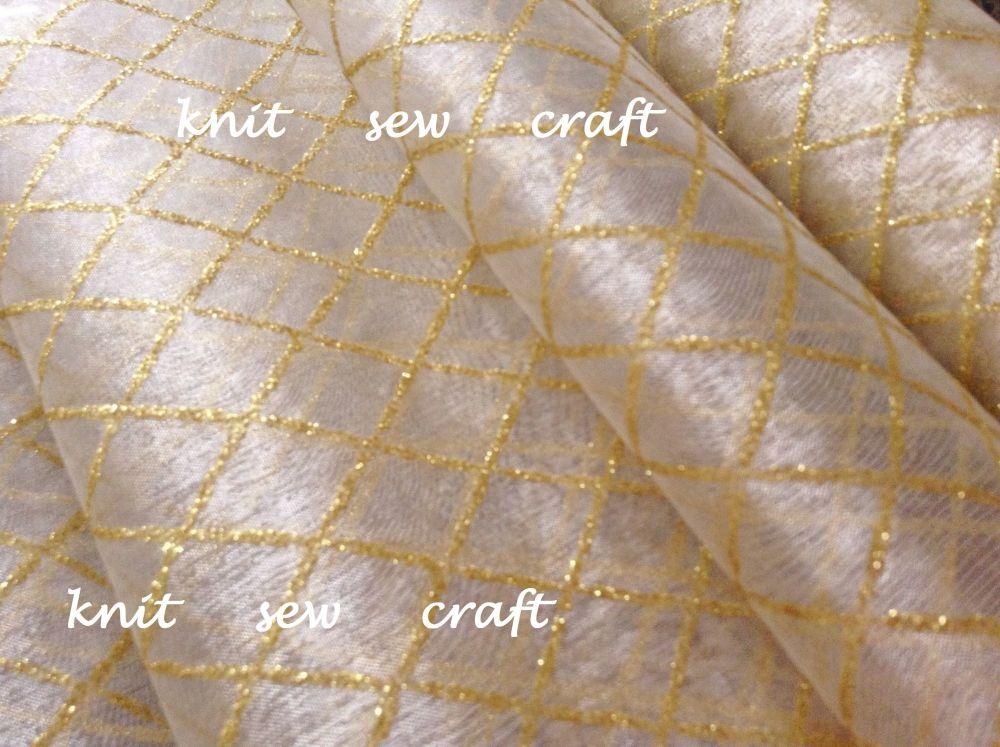 Diamond Pattern Organza Ivory And Gold Sold Per Half Metre