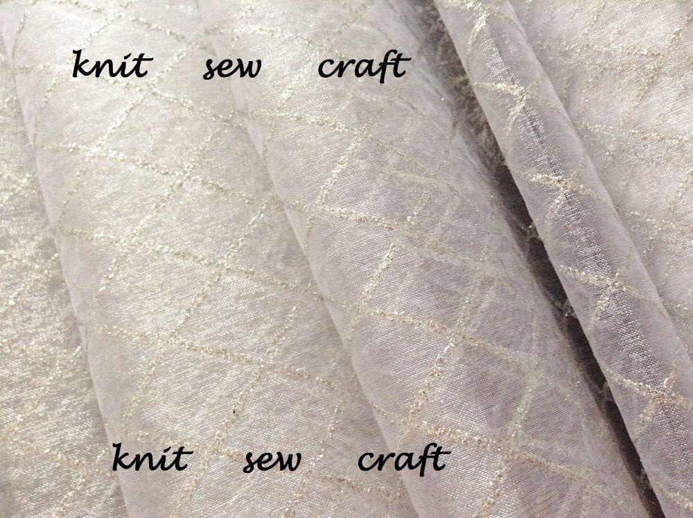 Diamond Pattern Organza White And Silver Sold Per Half Metre