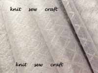 Diamond Pattern Organza White And Silver Sold Per Half Metre