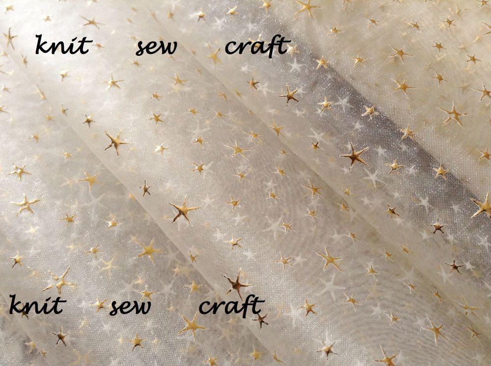ivory cream sheer organza gold foil stars print fabric Club Green x 1m