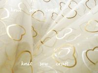 Hearts Pattern Organza Ivory Gold Snow Sheer Half Metre Length