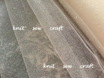 Sparkle Net Material Ivory Glitter Net Per Half Metre
