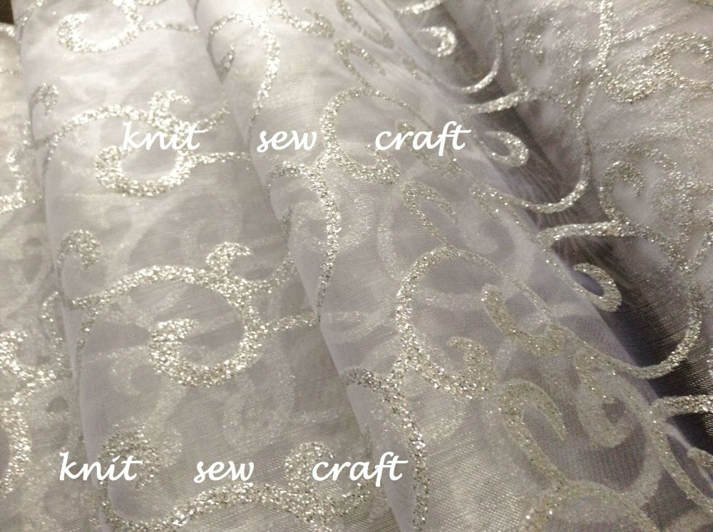 Organza Snow Sheer Swirl Fabric White Silver 1m Club Green CGC64