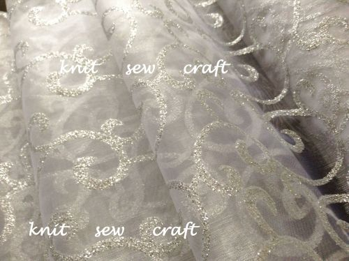 Organza Snow Sheer Swirl Fabric White Silver 1m Club Green CGC64