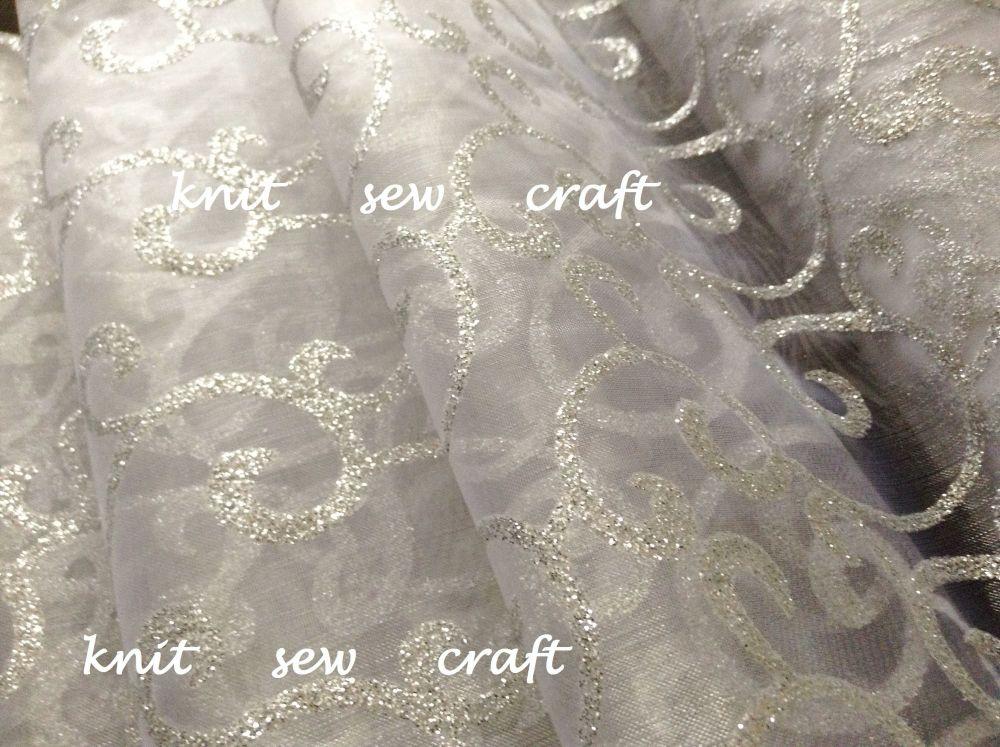 White Organza Silver Swirl Snow Sheer Fabric Sold Per Half Metre