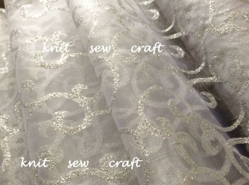 White Organza Silver Swirl Snow Sheer Fabric Sold Per Half Metre