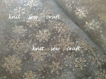 Silver Snowflake Pattern Organza Sheer Glitter Fabric Per Metre
