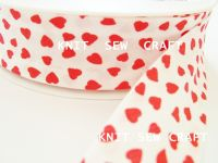 red hearts pattern cotton bias binding